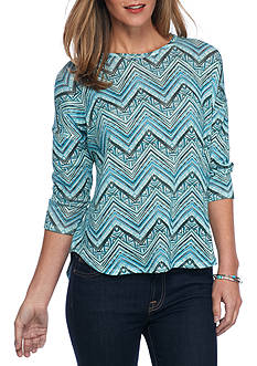 New Directions Weekend Chevron Printed High Low Top