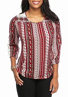 New Directions Weekend Printed Lace Scoop Neck Top