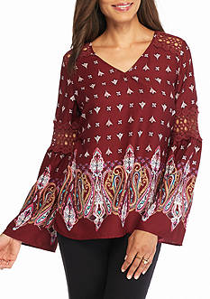 New Directions Weekend Medallion Lace Inset Blouse