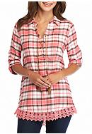 New Directions® Weekend Plaid Lace Trim Shirt