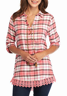 New Directions Weekend Plaid Lace Trim Shirt