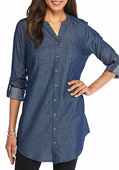 New Directions Weekend Snap Front Chambray Tunic
