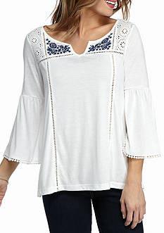 New Directions Weekend Embroidered Yoke Peasant Top