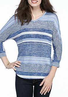 New Directions Weekend Stripe Knit Top