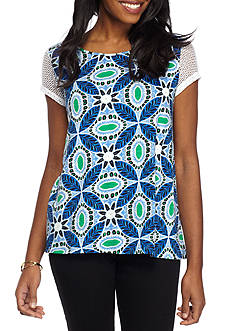 New Directions Weekend Short Sleeve Keyhole and Tassel Tied Back