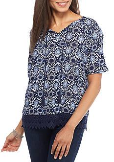 New Directions Weekend Crochet Hem Geo Print Shirt