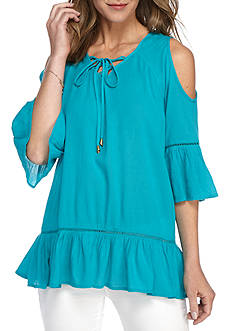 New Directions Weekend Cold Shoulder Lace Up Blouse