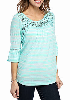 New Directions® Weekend Eyelet Trim Peasant Top