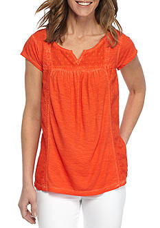 New Directions Weekend Dot Embellished Burnout Tee
