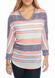 New Directions Weekend Salt Stripe V Neck Sweater