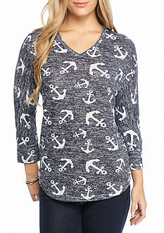 New Directions Weekend Anchor Print V Neck Sweater