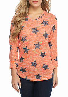 New Directions Weekend Star Print V Neck Sweater