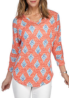 New Directions Weekend Medallion Print Knit Top