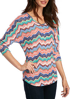 New Directions® Weekend Chevron Stripe Knit Top