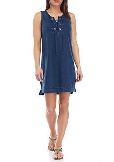 New Directions Weekend Grommet Tie Front Dress