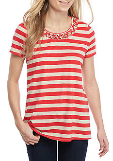 New Directions Weekend Lattice Neck Striped Tee