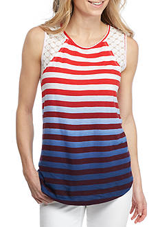 New Directions Weekend Striped Crochet Sleeveless Top