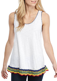 New Directions Weekend Crochet Hem Sleeveless Top