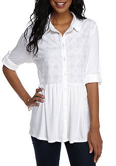 New Directions Weekend Lace Button Front Peplum Top