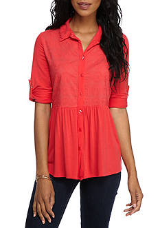 New Directions® Weekend Lace Button Front Peplum Top