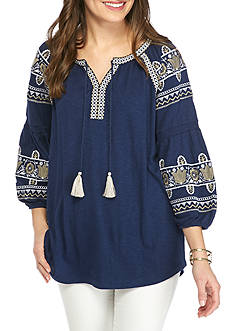New Directions Weekend Embroidered Tassel Tie Peasant Top