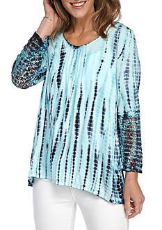 New Directions Weekend Tie Dye Pleated Front Crochet Sleeve Top