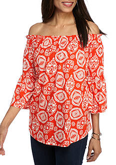 New Directions Weekend Off Shoulder Smocked Collar Paisley Top