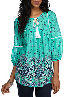 New Directions Weekend Paisley Border Print Peasant Top