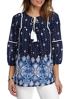 New Directions® Weekend Paisley Border Print Peasant Top