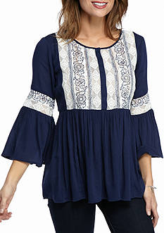 New Directions Weekend Lace Front Blouse