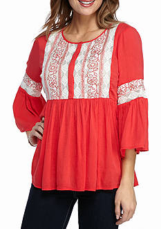 New Directions® Weekend Lace Front Blouse