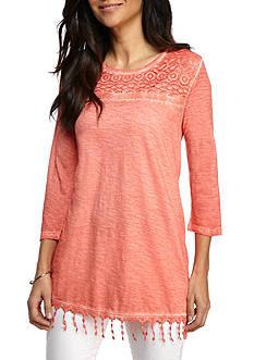 New Directions Weekend Lace Yoke Crochet Hem Top