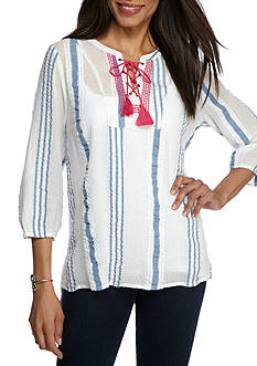 New Directions Weekend Lace Up Stripe Woven Shirt