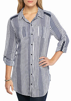 New Directions Weekend Multi Stripe Button Front Tunic Shirt