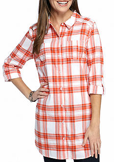 New Directions Weekend Plaid Button Front Tunic