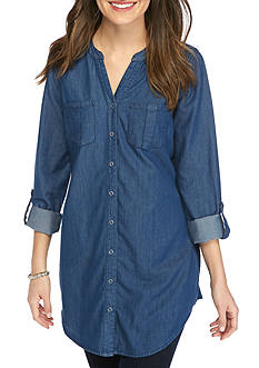 New Directions Weekend Y-Neck Button Front Tunic