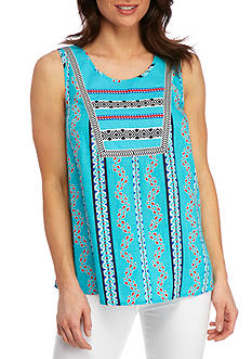 New Directions Weekend Embroidered Yoke Printed Top