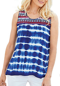 New Directions® Weekend Sleeveless Tie Dye Embroidered Yoke Top