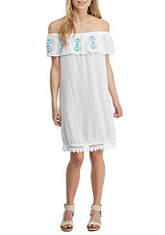 New Directions Weekend Embroidered Off The Shoulder Dress