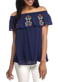 New Directions® Weekend Off-The-Shoulder Embroidered Woven Top