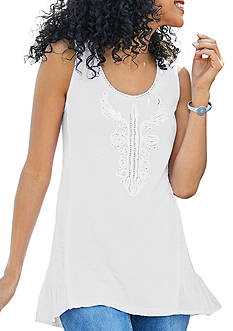 New Directions® Weekend Sleeveless Soutache Beaded Knit Blouse