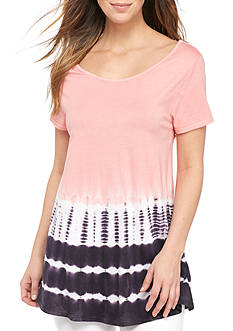 New Directions Weekend Tie Dye Cinched Back Tee