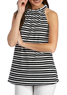 New Directions® Weekend Stripe Ruched Neck Halter Top