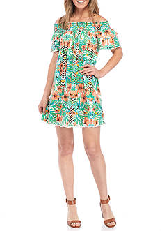 New Directions® Off-The-Shoulder Smock Tropic Dress