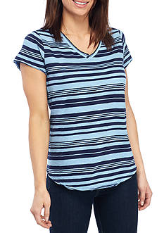 New Directions Weekend Striped V-Neck Tee