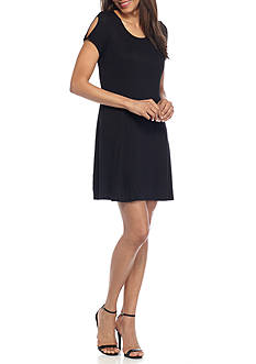 New Directions Weekend Knot Short Sleeve Solid Dress