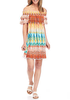New Directions Off-The-Shoulder Smock Ikat Dress