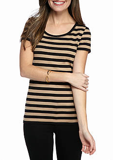 New Directions Weekend EDV Classic Stripe Rib Knit Tee