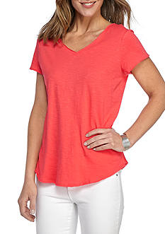 New Directions Weekend EDV Solid Double V Neck Tee