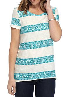 New Directions Weekend EDV Batik Stripe Printed Tee